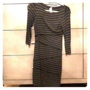 Bailey 44 bodycon grey stripe dress from Anthro